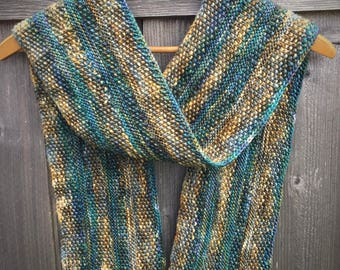 Handknit Extrafine Merino and Silk Scarf in Blue, Green, and Earth Tones