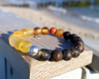Unpolished Beaded Baltic Amber Bracelet, Multiple Color Gemstone Bracelet, Amber Jewelry