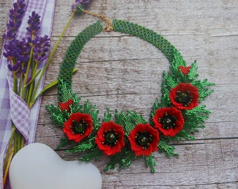 Red Poppy necklace Set jewelry Jewelry Flowers Red necklace Poppies Ukrainian ethnic necklace Bead Weaving flowers Real floral necklace