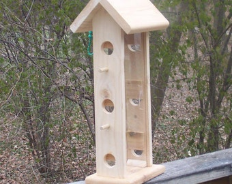 Large hanging bird feeder with seed viewing.