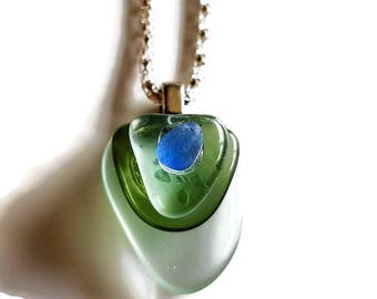Tiered polished glass pendant with blue sea glass on a 16 inch snake necklace