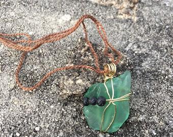 Green Seaglass Diffuser Necklace