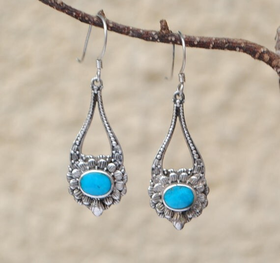 Vintage turquoise earrings and sterling silver dangling