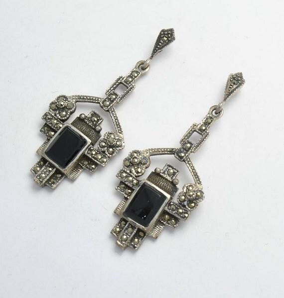 Boucles d'oreilles vintage pendantes en marcassite, onyx et argent