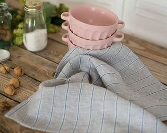 Linen kitchen towels set of 2, Blue stripes dish towel, Natural tea towel, Christmas gift, Softened linen, Grey linen towel