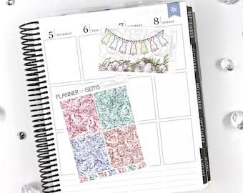 Rain Gem Header Stickers & Double Box Bundle | 36 Stickers | Planner Stickers | For Erin Condren LifePlanner