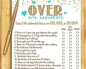 Bridal Shower Game - Over or Under - Teal Blue and Gold - Instant Printable Digital Download - diy Bridal Shower Printables Wedding Activity