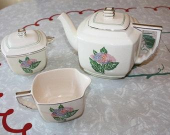 Art Deco Leigh Ware Hydrangea Tea Set: Teapot, Creamer, Sugar, Leigh Potters