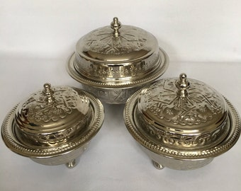 SET OF 3 Moroccan Alpaca Silver Nibbles/Cookies/Sweets Bowl / 3 SIZES