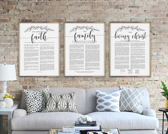 The Family Proclamation, The Living Christ and The Articles of Faith Set, Modern Black and White Poster Size LDS Printable Set