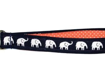 "Elephant Keychain • Key Fob Wristlet • Safari • Elephant Accessories • Handbag Strap • Lanyard • Navy • Coral • Swivel Clip • 3/4"" x 6"""