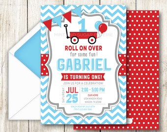 Red Wagon Invitation Red Wagon Party Red Wagon Birthday Red Wagon Invite Red Wagon Birthday Printables DIY MSP143
