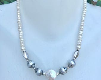 Coin pearl necklace, Freshwater pearl necklace