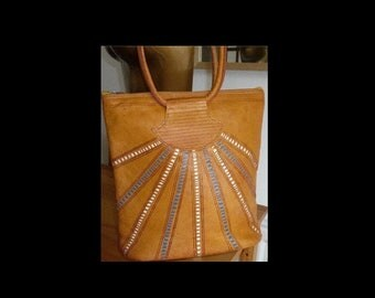 Vintage 70s 70's hippy hippie Moroccan sunburst ethnic real leather tooled bag handbag purse
