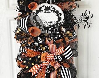 Halloween Door Swag, Halloween Swag, Pumpkin Wreath, Wreath Halloween, Wreath Front Door, Halloween Decor, Front Door Wreath, Skull Wreath