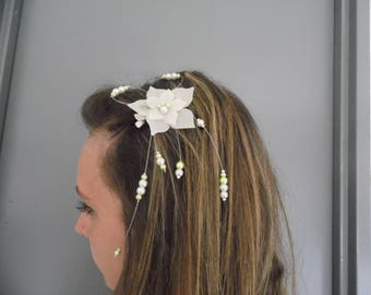 Hair clip bridal bridesmaid ivory silk flower bridal hair accessory green anise/ivory beads holiday evening ceremony