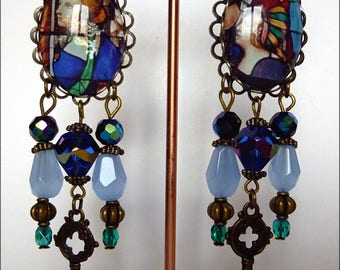 """Clip earrings, style medieval """"stained"""" glass, Czech glass, blue cat's eye illustrated sky, cabochons, bronze metal"""