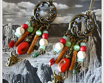 "Dangle earrings ethnic ""YOSEMITE"", skulls, metal, gemstone, red Bohemian glass"
