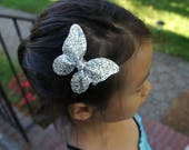 Large Silver Glitter Butterfly Hair Clip - alligator clips, baby bows, handmade bows, girl hair bows