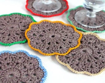 Crochet coasters Drink coasters Lace coasters Autumn gift for hostess Gift for women gift Rustic wedding Bridal shower gift for bride Gift