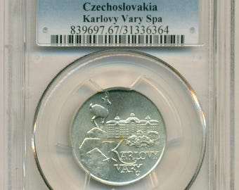 Czechoslovakia Silver 1991 50 Korun Karlovy Vary Spa MS67 PCGS