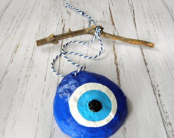 Paper Mache Eye, Blue Evil Eye, Evil Eye Decor, Evil Eye Wall Hanging, Evil Eye Mobile, Housewarming Gift, Greek Evil Eye, Good Luck Eye