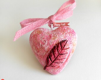 Heart Ornament, Happy Fall Ornament, Hanging Heart Decor, Happy Fall Decor, Autumn Decoration, Paper Mache Heart, Autumn Heart, Home Decor