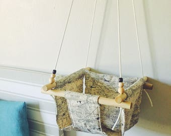 Map swing, baby swing, baby fabric swing, indoor swing, outdoor swing, porch swing, nursery decor, toddler swing, wooden swing, map fabric,