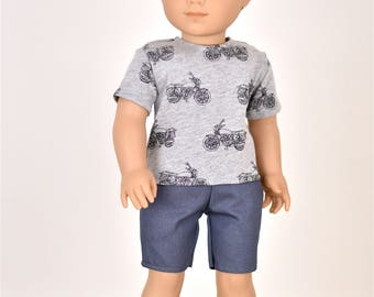 18 inch Boy Doll Clothes Top Bikes
