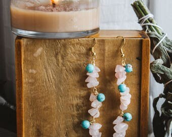 Rose Quartz and Turquoise Wire Wrapped Dangle Earrings