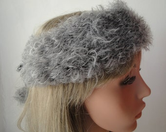 faux fur headband, knitted headwarmer, pompom earwarmer, grey 'fur' headband, luxury knit headband, adjustable earwarmer, vegan headband