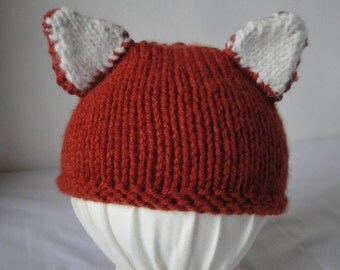 knitted fox beanie, fox-tail baby hat, cap with fox ears, dark orange baby hat, novelty toddler cap, hat age 1-2 yrs, wool mix foxy beanie