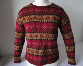 woman sweater burgundy and gold, flower pattern sweater, OOAK knitwear, pure wool jumper, classic knitwear, picot edge pullover, unique knit