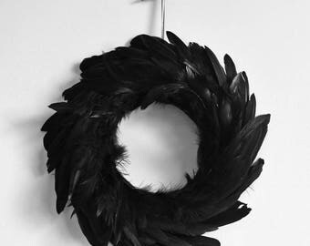 Black Feather Gothic Halloween Wreath - Small