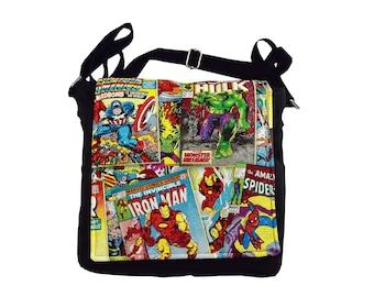 Avengers Comic Book Handbag.  Marvel Superhero messenger style shoulder bag, the perfect gift idea for any lover of comics and superheroes.