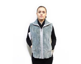 Shearling Beaver Fur Vest with Leather Sides F322