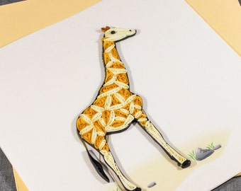 3D Blank Quilled Giraffe Quilling Animal Card
