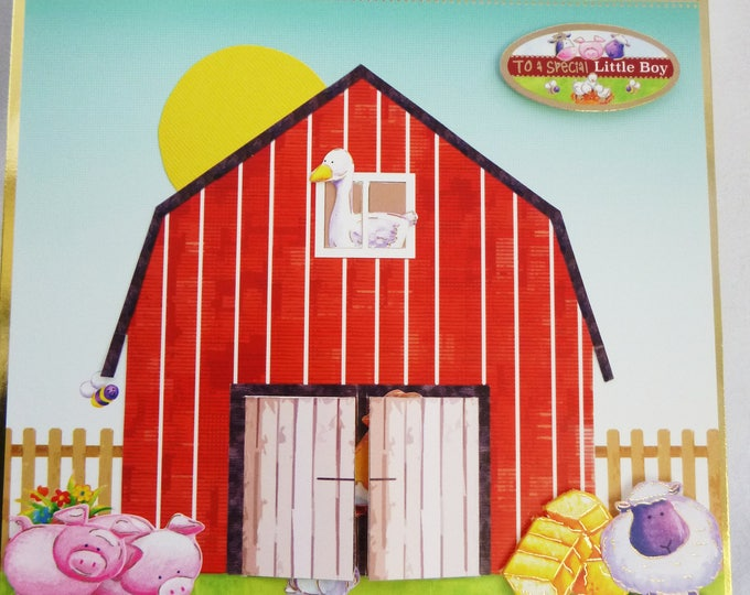 Boys Birthday Card, Old MacDonald's Farm, 3D Decoupage, Barn With Animals, To a Special Little Boy, Any Age, Son, Brother, Nephew, Grandson