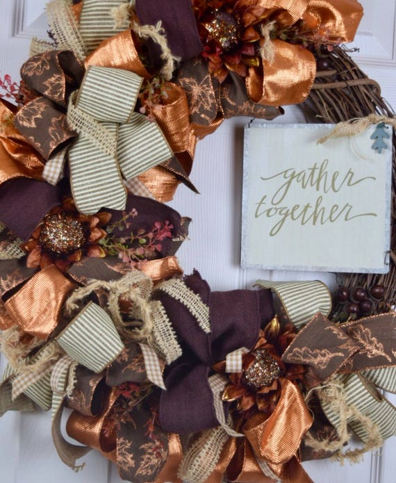 Gather Together Fall Grapevine Wreath with Sunflowers and Acorns; Autumn Wreath Door Decor; Fall Door Decor Wreath with Acorns and Sunflower