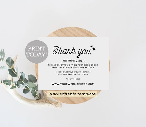 Business thank you card editable template etsy seller thank you il570xn flashek Choice Image