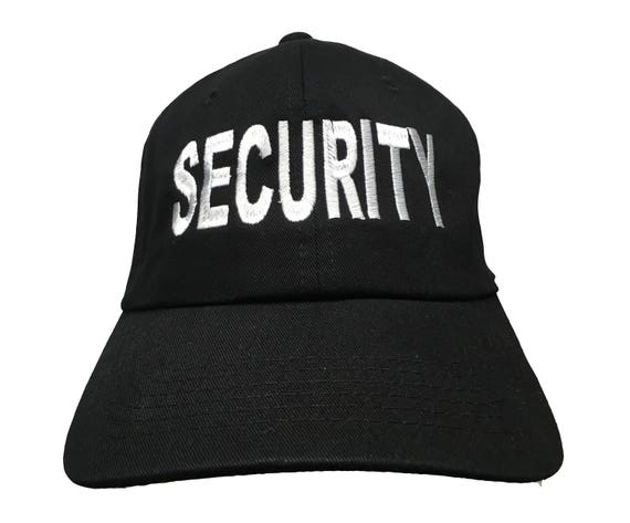 SECURITY - Polo Style Ball Cap - Black with White Stitching