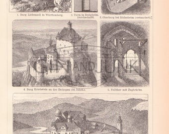 Architectural Plate featuring various castles, fortresses and defended buildings, Warfare, Medieval, Architecture Print, Lithograph. Vintage