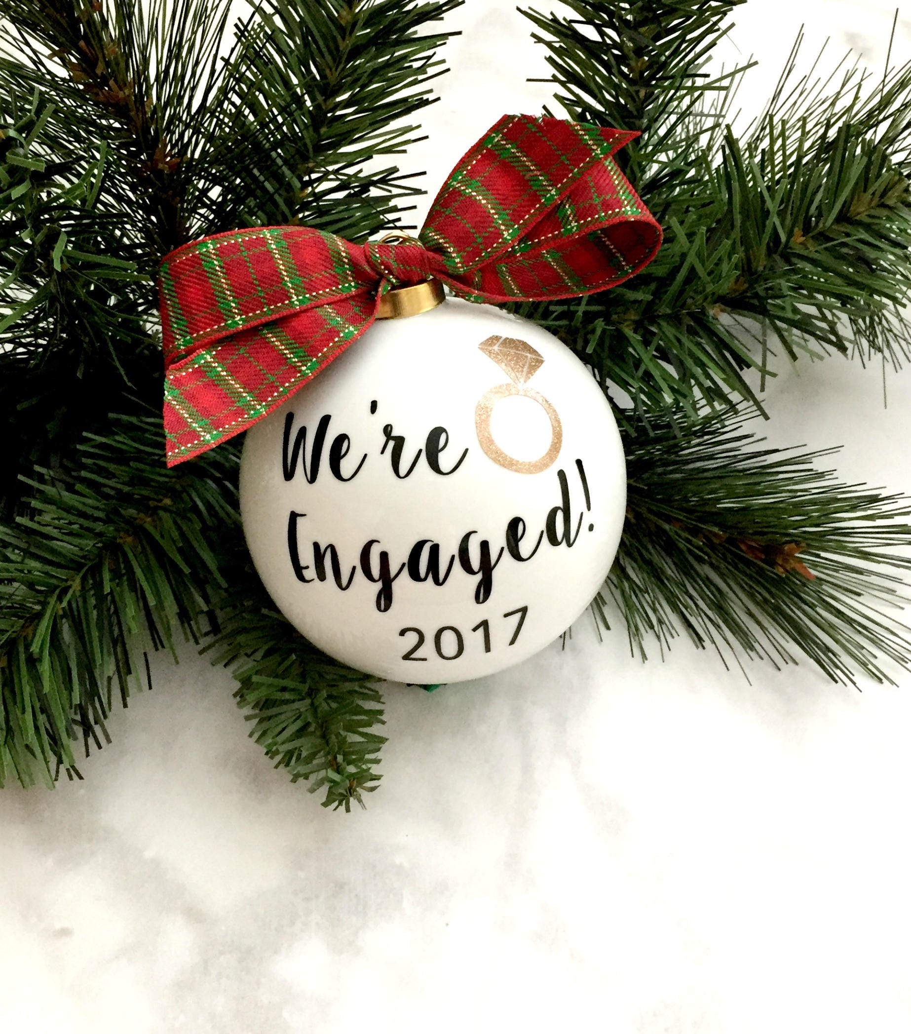 We're Engaged Ornament Christmas Gift Engagement Gift