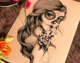 A4 Art Print - Sugar Skull Girl