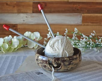 Yarn Bowl - Handmade Pottery - Large Yarn Bowl - Wool Bowl - Knit - Crochet - Unique Gift - Ready to Ship