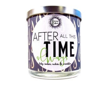After All This Time - Bookish Candle - Book Inspired - LemonCakes Candle Co 9oz Wood or Double Wick Soy Candle - Lily, Amber, Cedar, Vanilla