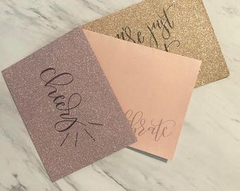 Celebrate Greeting Cards | Congrats Set | Calligraphy Celebrate Card | Rose Gold Set | Hand Lettered | Just Because
