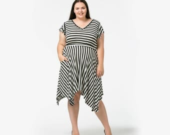 V is for Vogue Striped Dress with pockets available in sizes 6-36 (most sizes made to order)