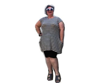 Black & Cream Striped Tunic with Pockets - limited number available