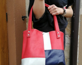 red leather tote, hand made  tote, simple leather tote,everyday leather tote,leather bag, stylish shoulder bag,casual shoulder bag